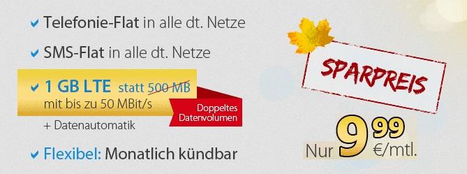 Bester Handytarif mit 1GB Allnet-Flat