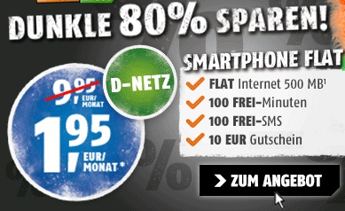 Günstigster Handytarif im D-Netz mit 500 MB