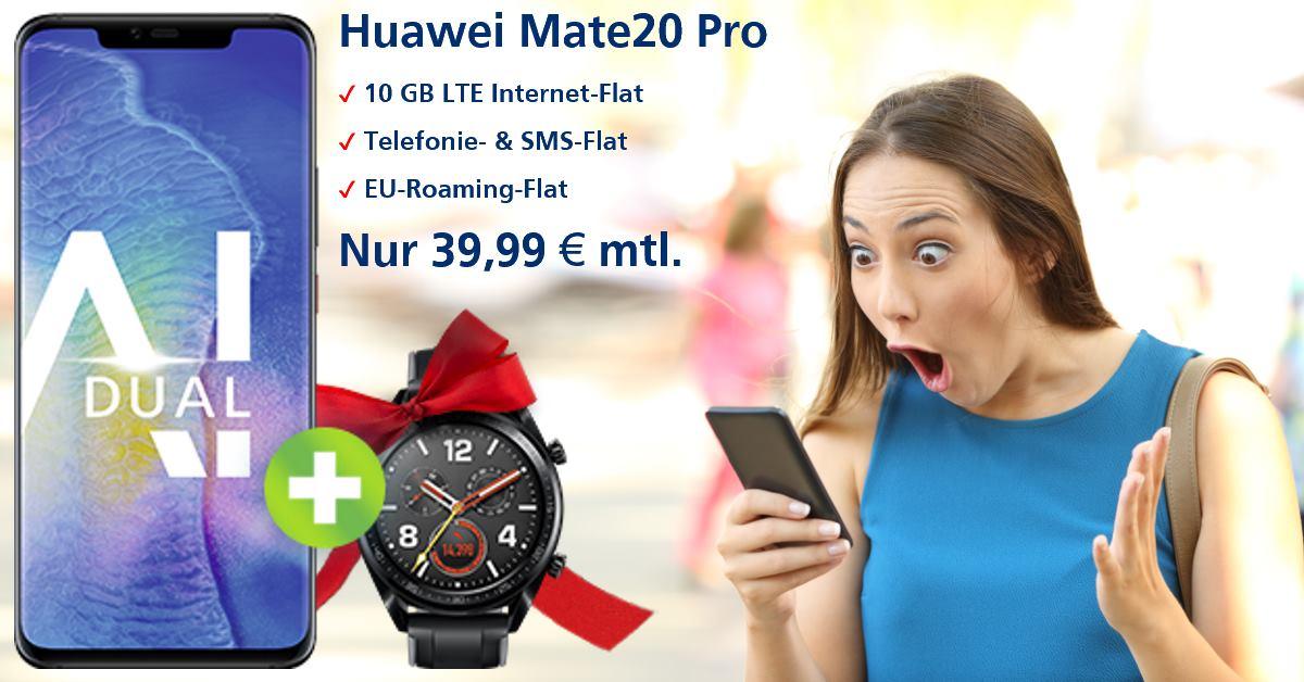 Huawei Mate20 Pro mit Watch GT und 10 GB LTE Allnet-Flat