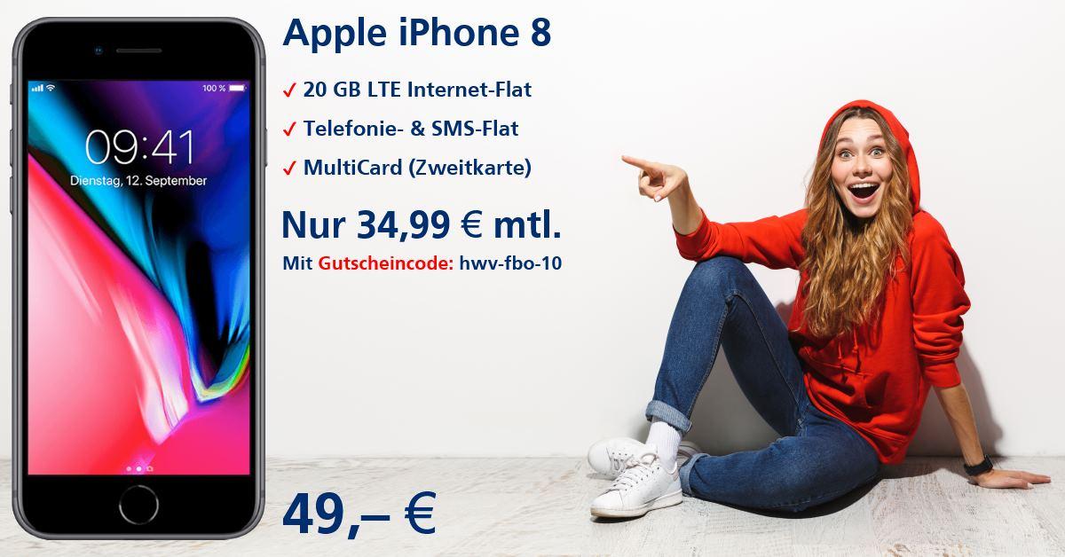 iPhone 8 inkl. 20 GB LTE Allnet-Flat