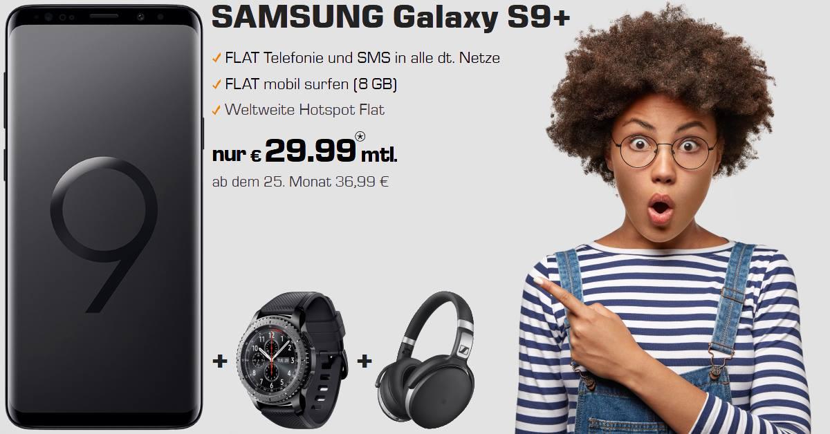 Handy Tarifvergleich - Galaxy S9 Plus mit Gear S3 Frontier, Sennheiser HD 4.50 und 8 GB Allnet-Flat