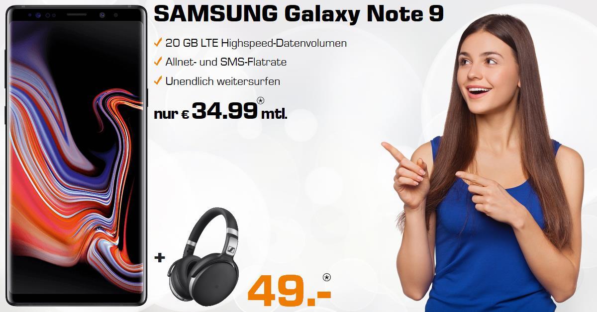 Galaxy Note 9 mit Sennheiser HD 4.50 und 20 GB LTE Allnet-Flat
