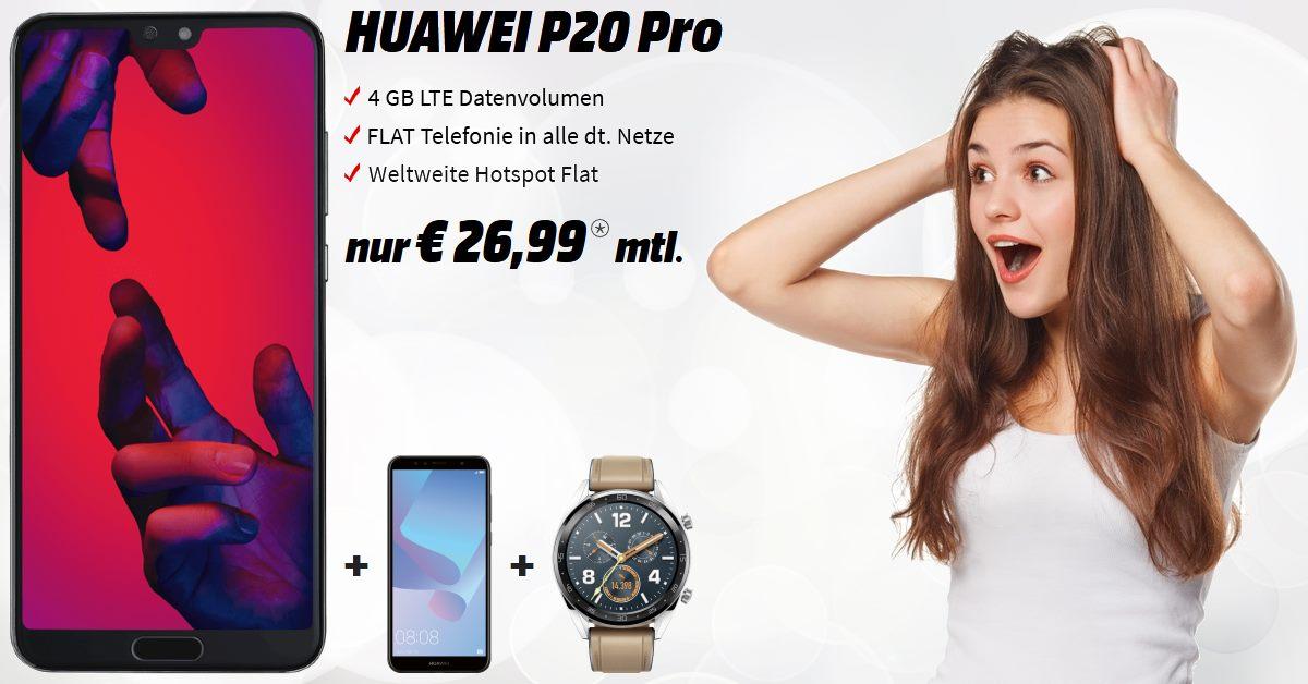 Huawei P20 Pro inkl. Huawei Y6, Huawei Watch GT und 4 GB LTE Allnet-Flat zum Tiefstpreis