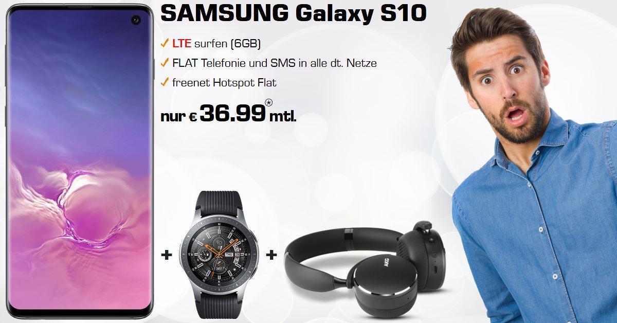 Handy Tarifvergleich - Galaxy S10 mit Galaxy Watch, AKG Y500 und 6 GB LTE Allnet-Flat