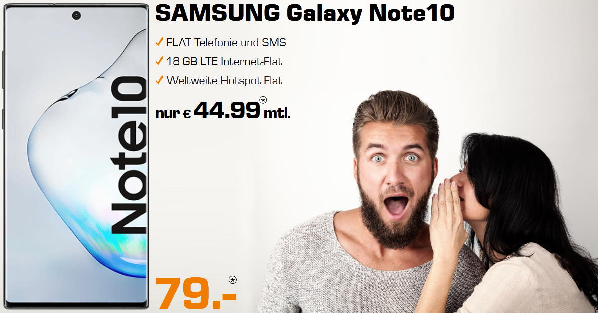 Galaxy Note 10 inkl. 18 GB LTE Allnet-Flat - Handy-Tarifvergleich