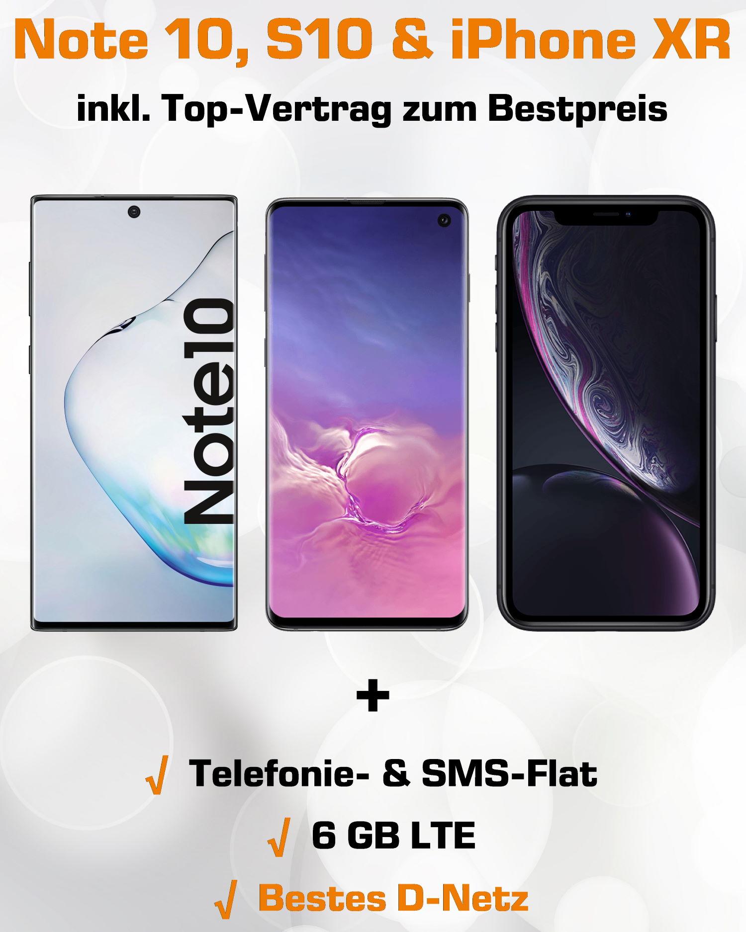 Handy Tarifvergleich Aktion - Galaxy Note 10, S10 und iPhone XR
