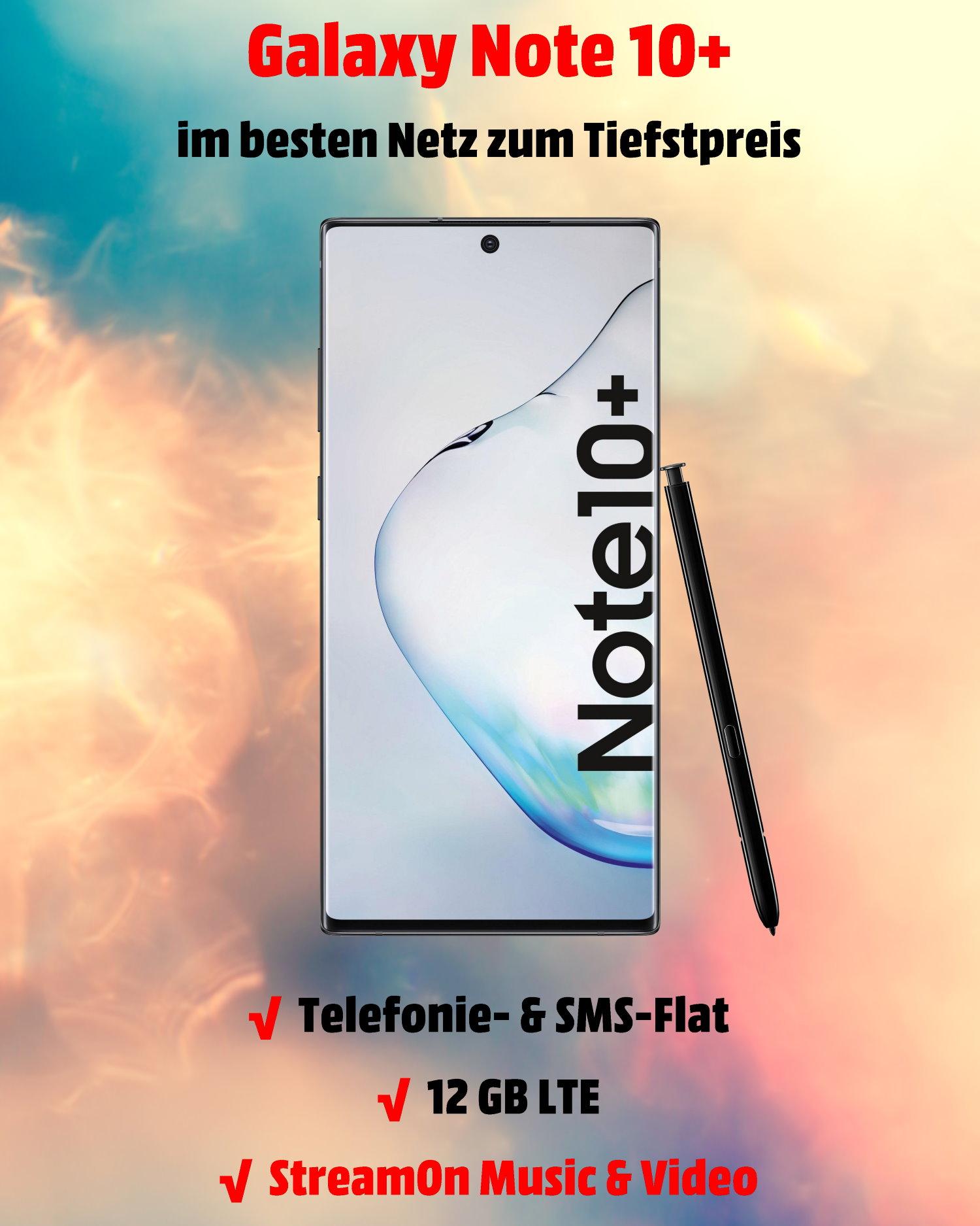 Handy Tarifvergleich Galaxy Note 10 Plus mit 12 GB LTE Allnet-Flat zum Tiefstpreis