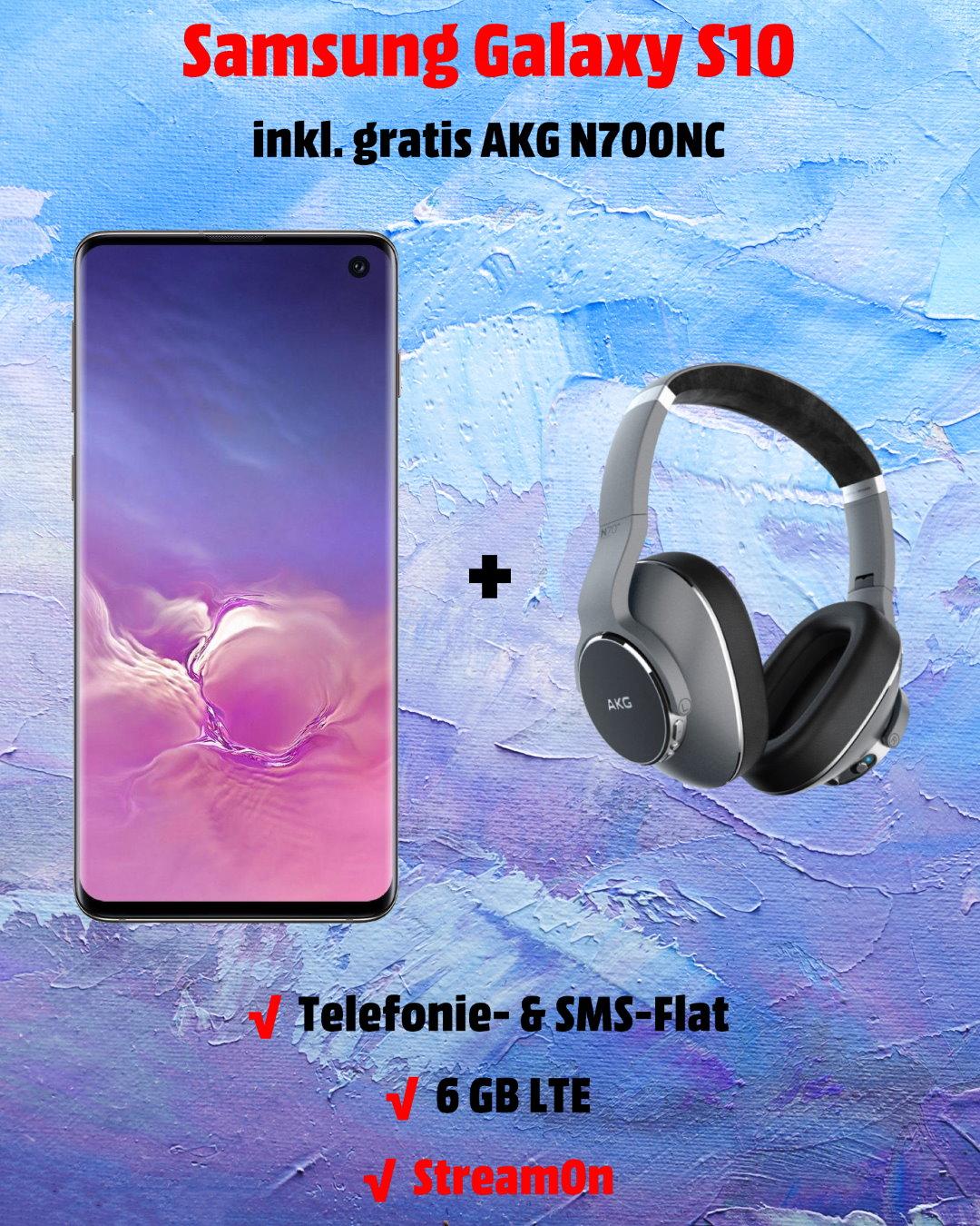 Galaxy S10 inkl. gratis AKG N700NC und 6 GB LTE Allnet-Flat im besten Telekom-Netz