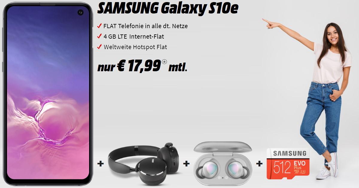 Galaxy S10e mit AKG Y500, Galaxy Buds, 512 GB Speicherkarte und 4 GB LTE Allnet-Flat zum absoluten Bestpreis