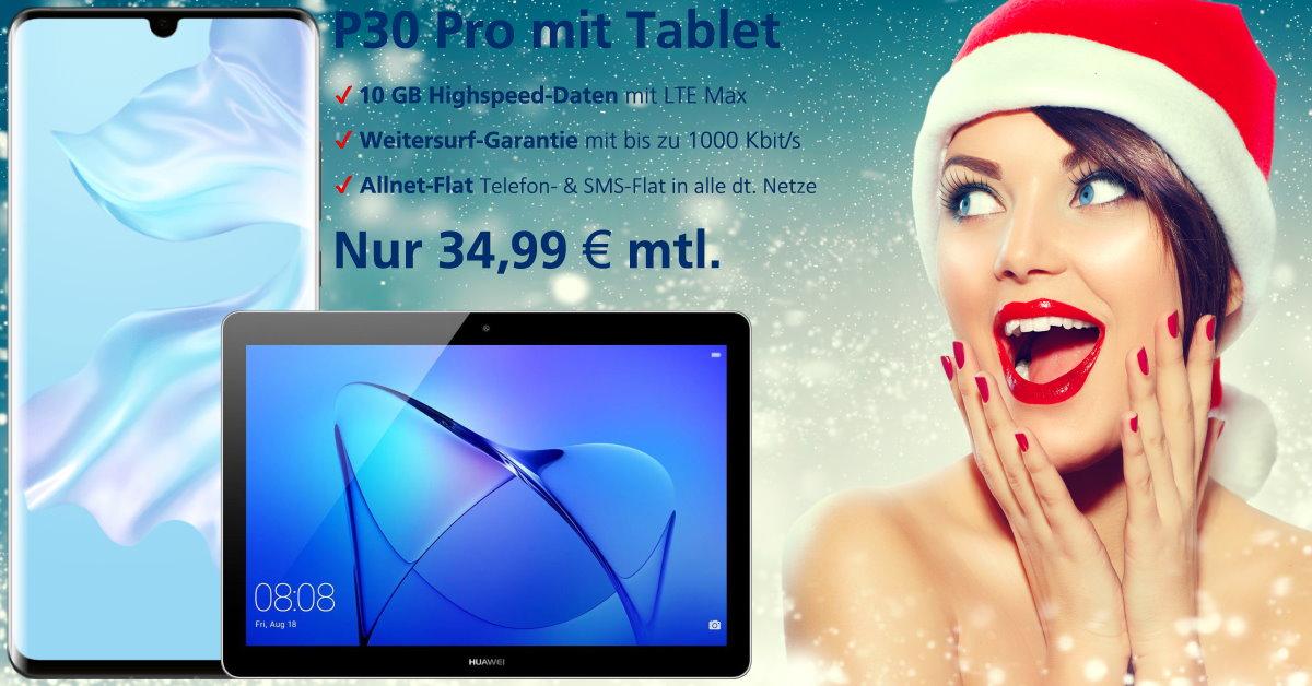 Huawei P30 Pro mit gratis Tablet und 10 GB LTE Handyvertrag