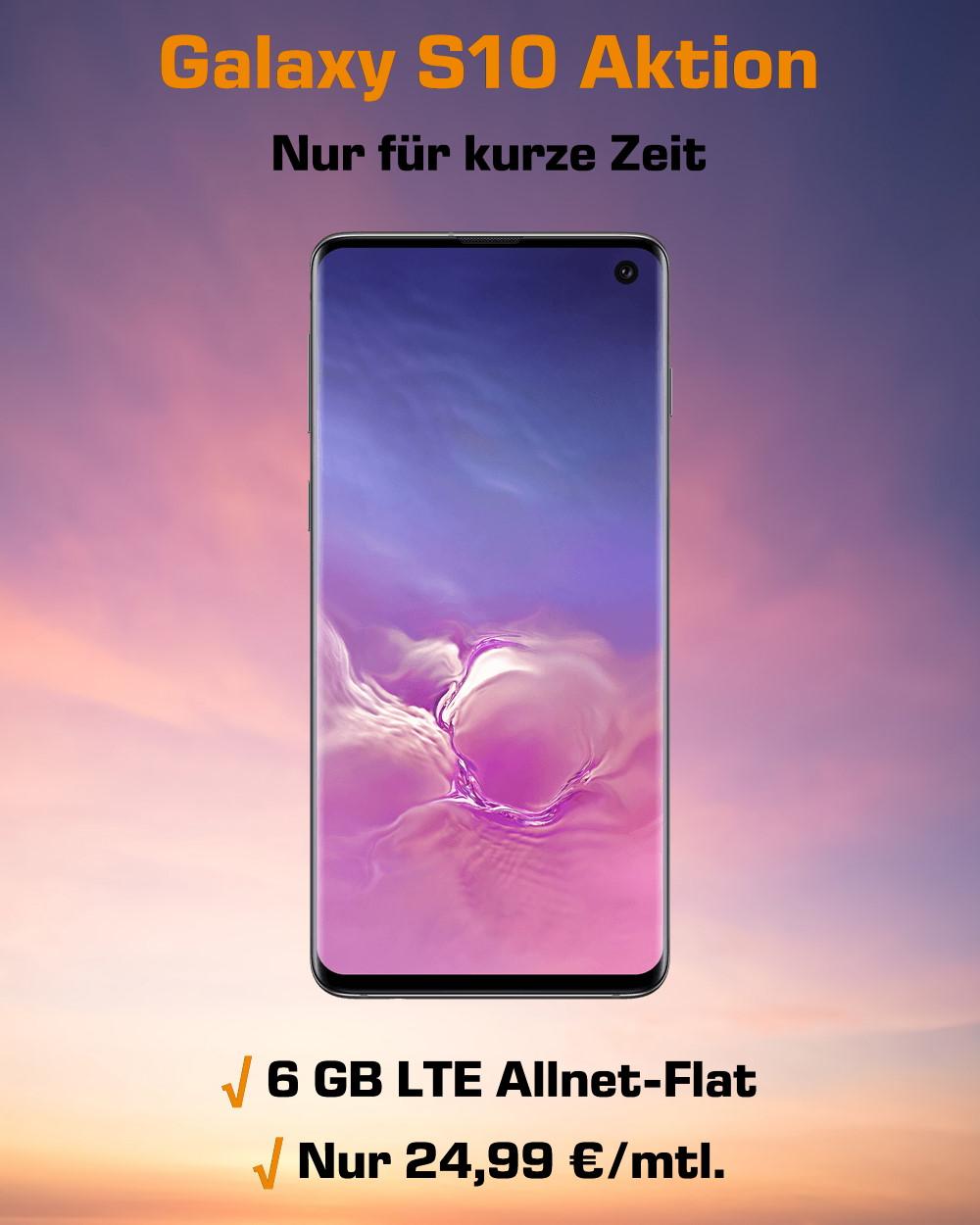 Galaxy S10 mit 6 GB LTE Allnet-Flat zum Mega-Tiefpreis