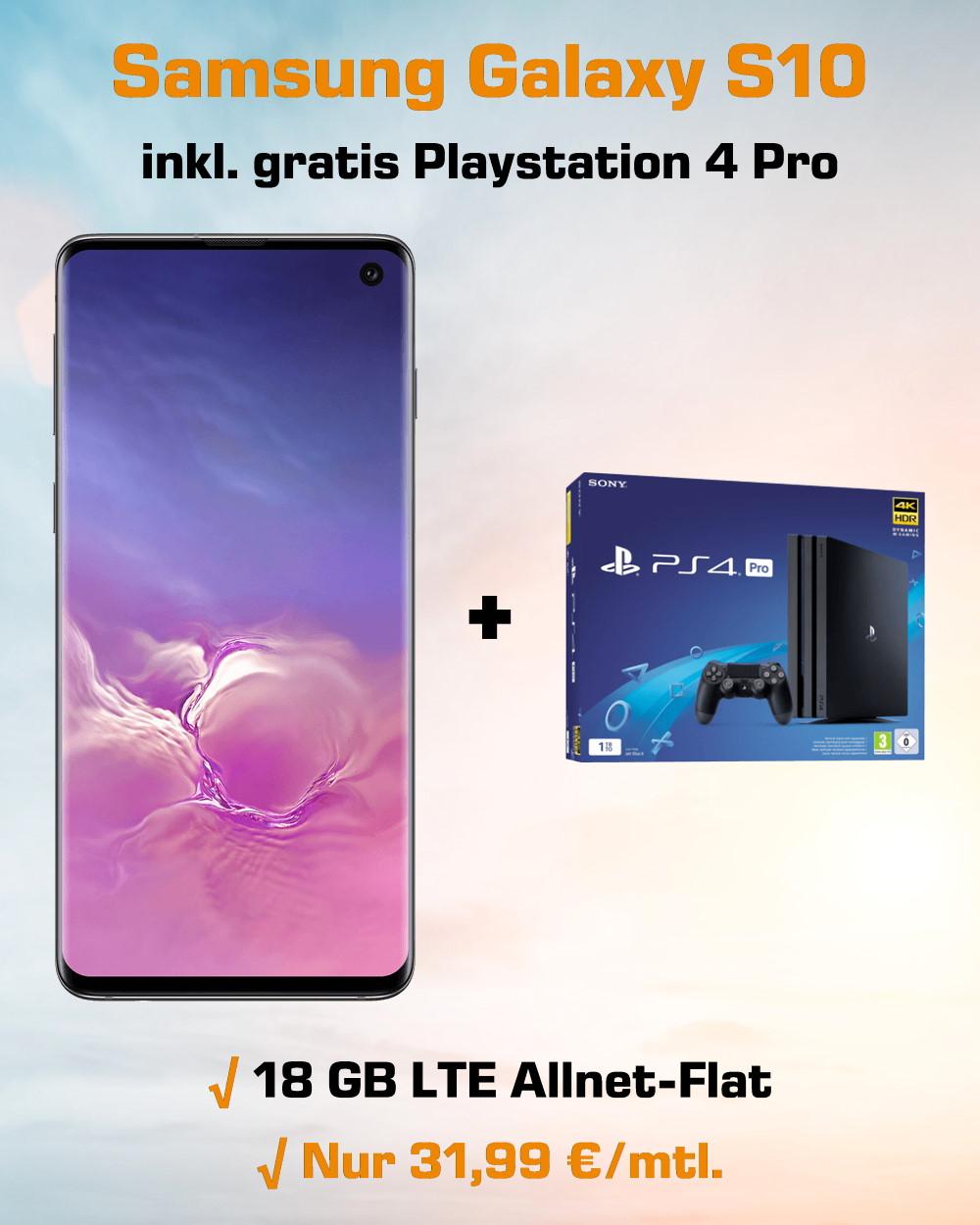 Handy-Tarifvergleich Galaxy S10 inkl. Playstation 4 Pro und 18 GB LTE Allnet-Flat zum absoluten Tiefstpreis