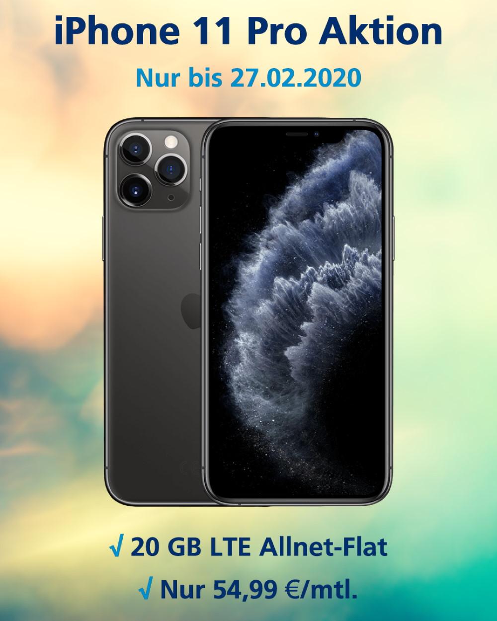 iPhone 11 Pro mit 20 GB LTE Allnet-Flat Handy Tarifvergleich