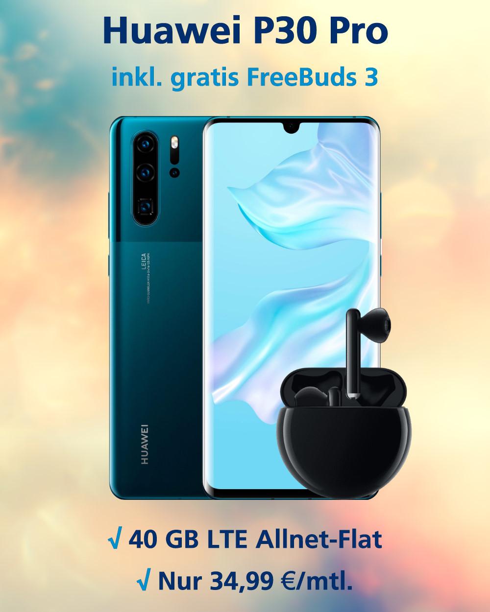 Huawei P30 Pro inkl. FreeBuds 3 und 40 GB LTE zum absoluten Bestpreis Handy-Tarifvergleich