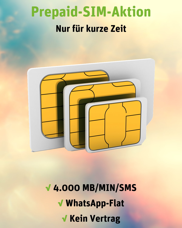 Prepaid-SIM-Aktion inkl. 4.000 flexiblen Einheiten und WhatsApp-Flat