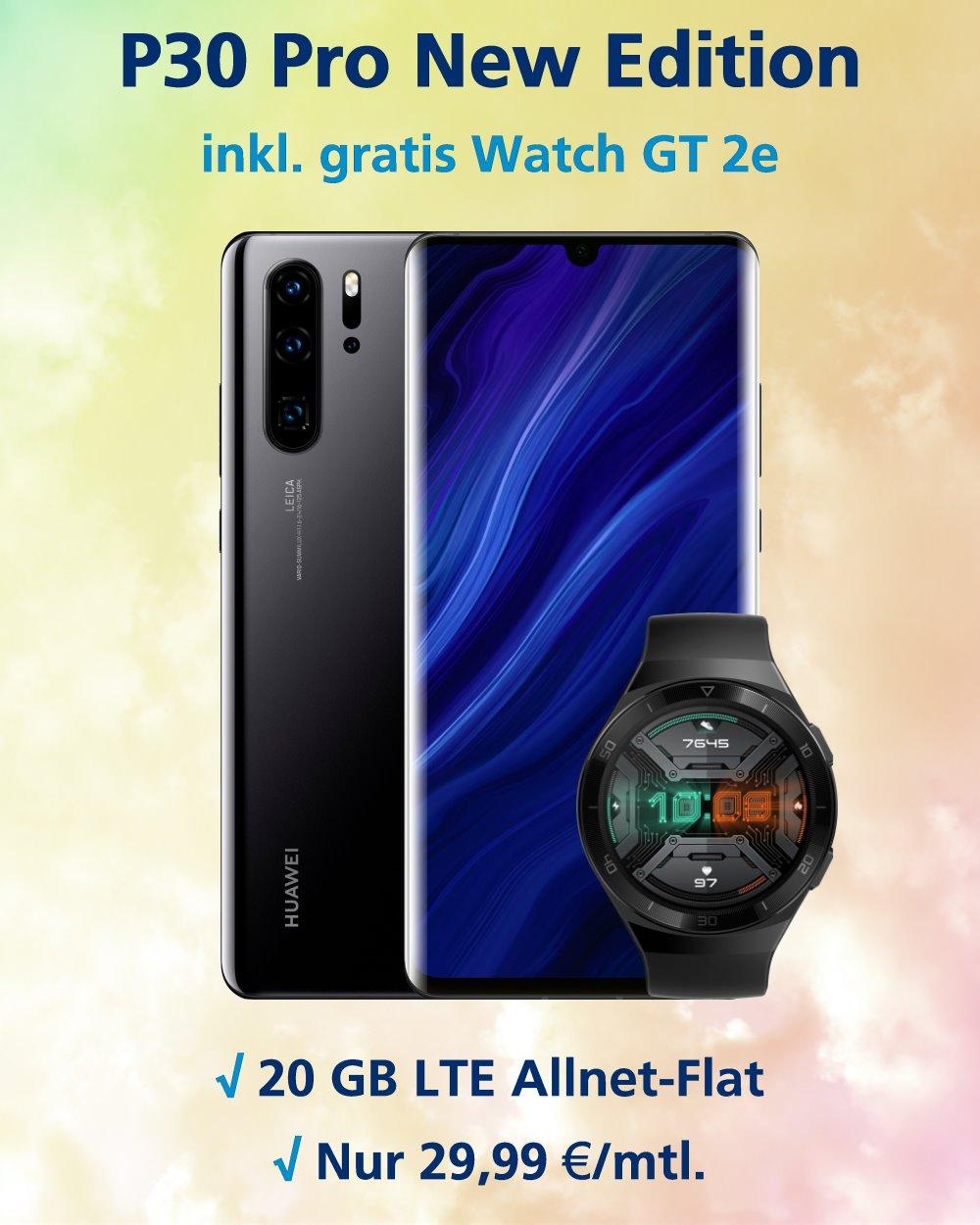 P30 Pro New Edition Handyvertrag mit Huawei Watch GT 2e und 20 GB LTE zum Tiefstpreis