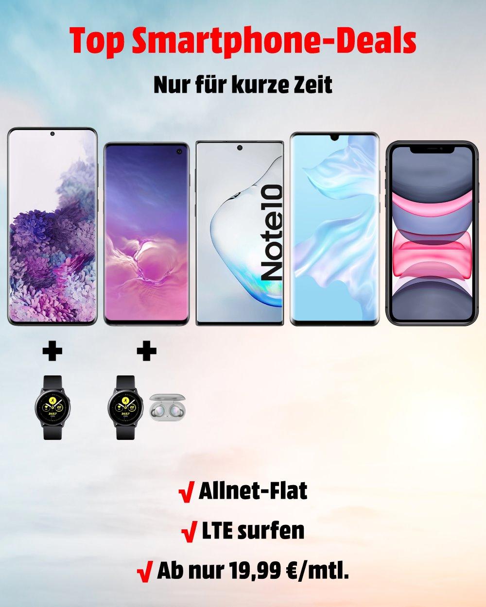 Top-Smartphones inkl. Handyvertrag zum Bestpreis