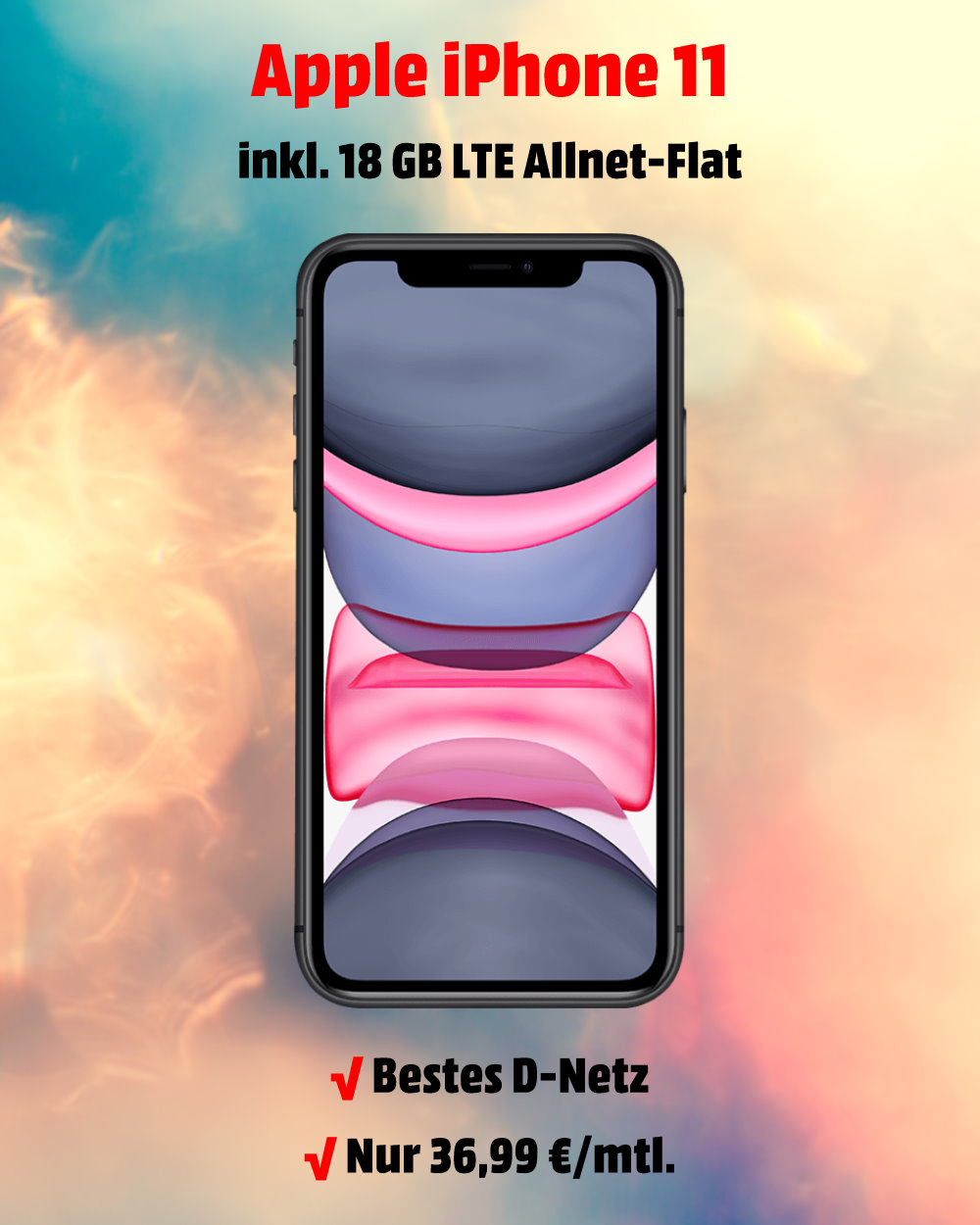 iPhone 11 Handyvertrag inkl. 18 GB LTE Allnet-Flat im besten D-Netz