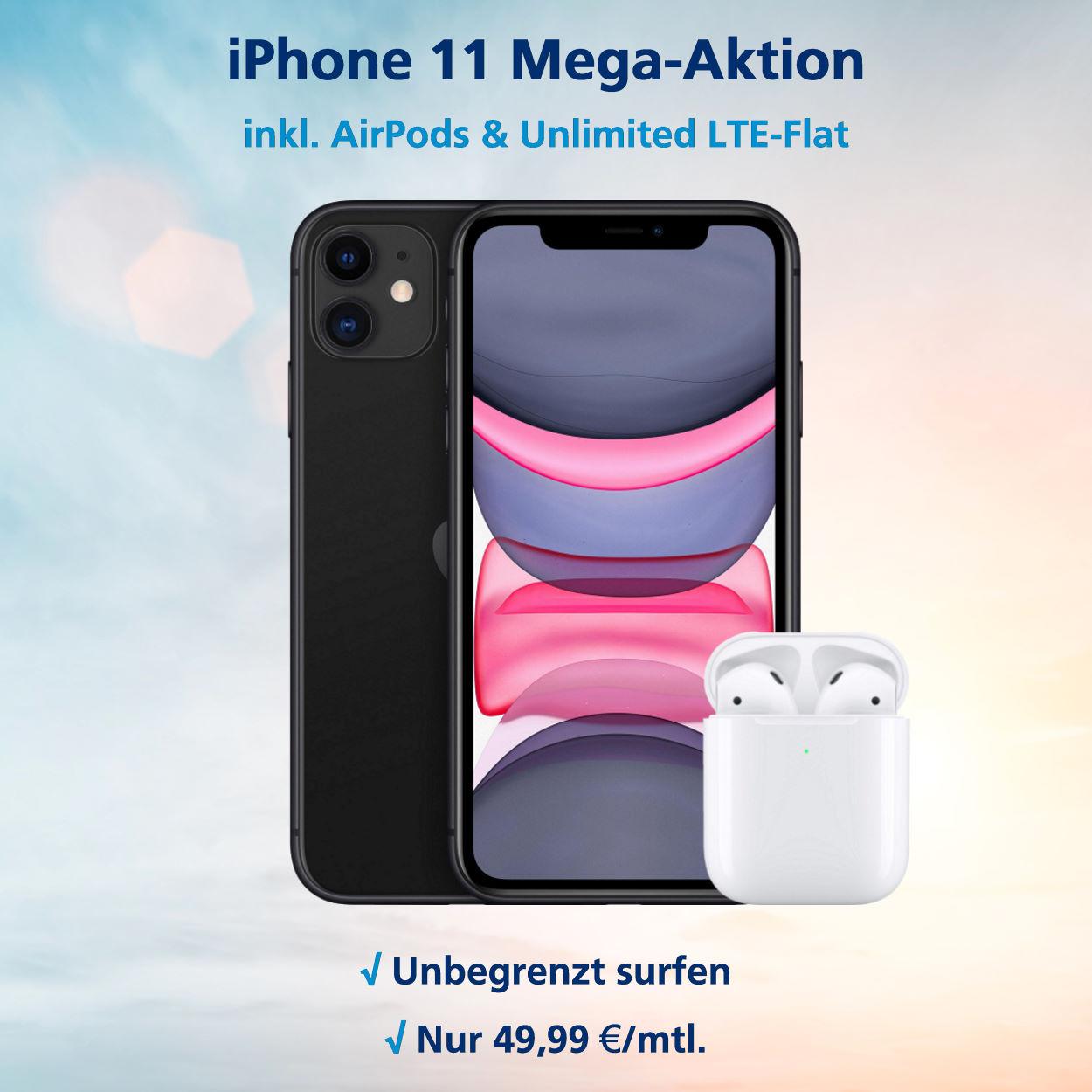 iPhone 11 mit Airpods 2 und o2 Free Unlimited Max zum Tiefstpreis