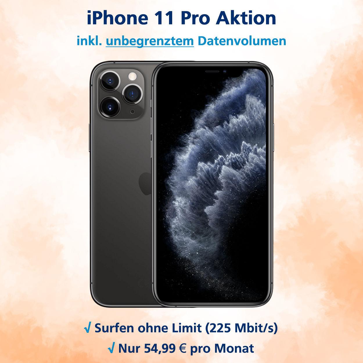 iPhone 11 Pro Handyvertrag mit unbegrenztem Datenvolumen