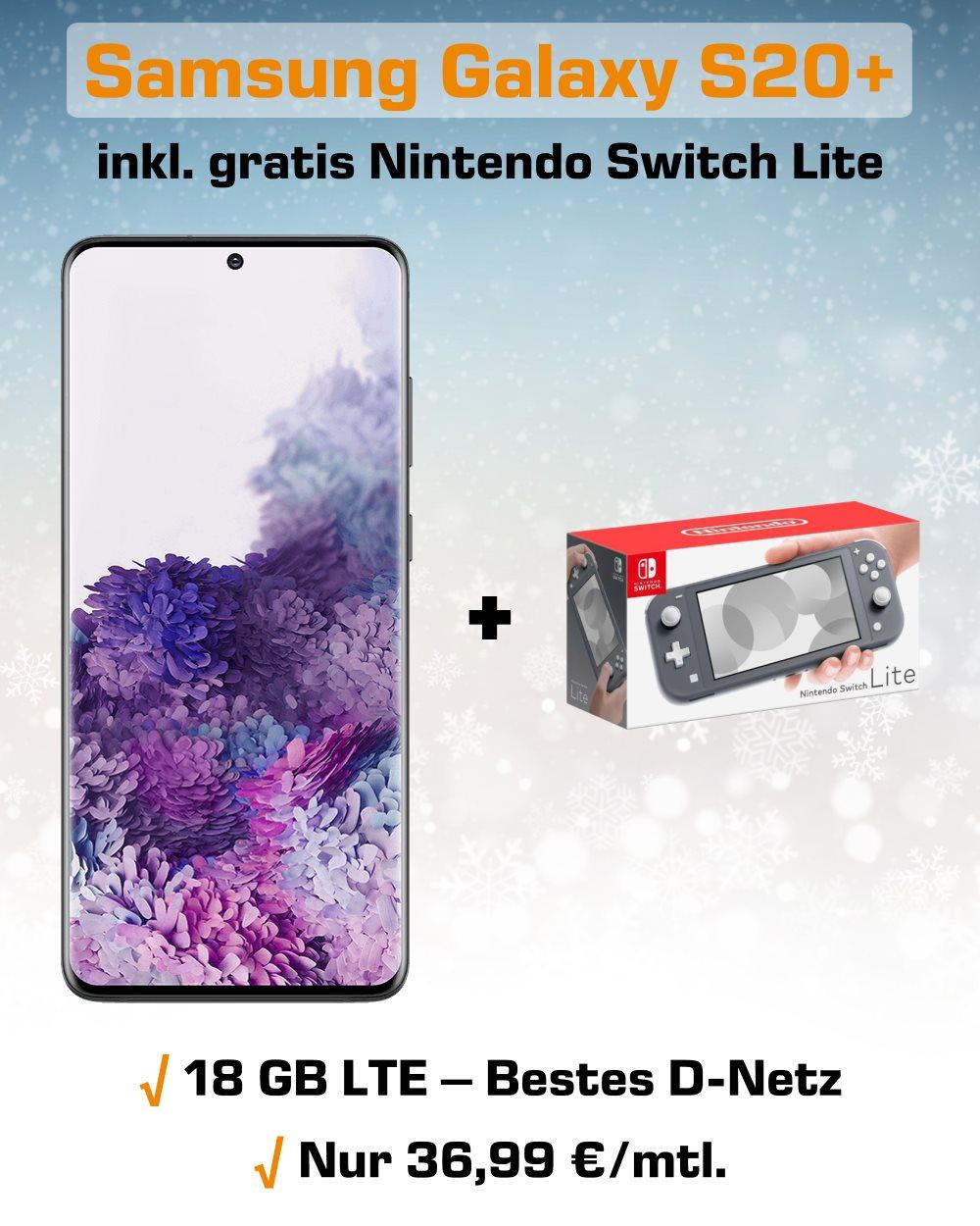 Galaxy S20+ inkl. Switch Lite und 18 GB LTE Allnet-Flat zum unschlagbaren Preis