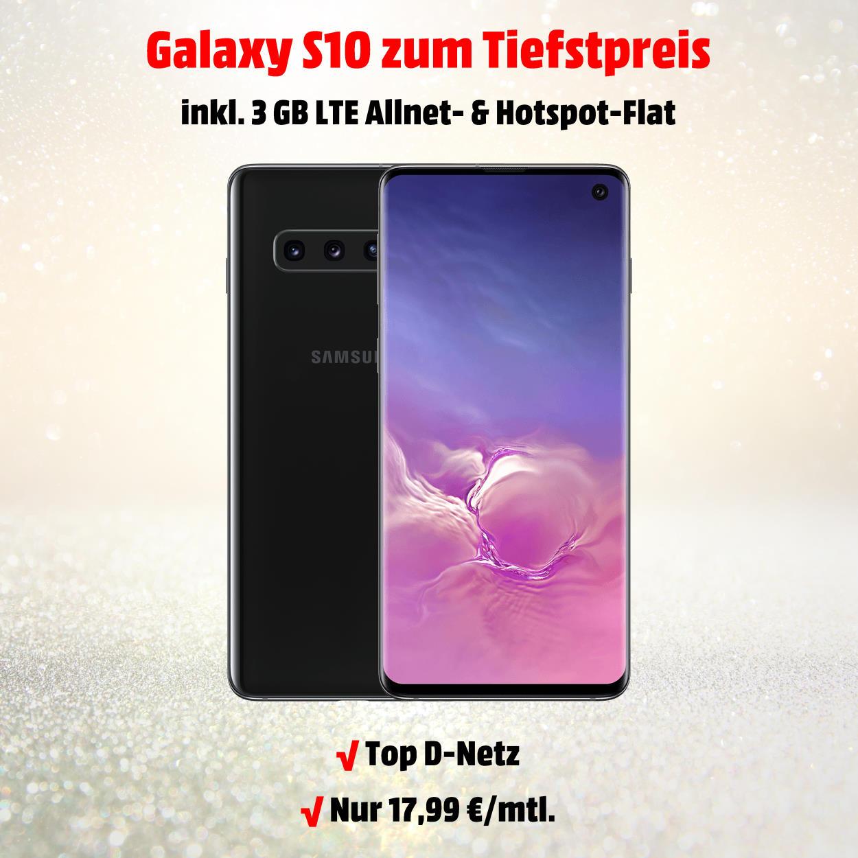 Samsung Galaxy S10 inkl. 3 GB LTE Allnet-Flat zum absoluten Tiefstpreis - Handy-Tarifvergleich