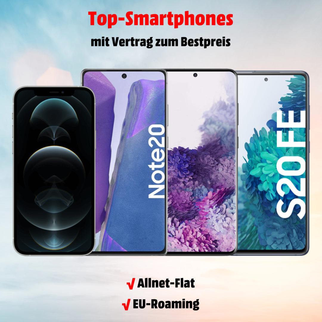 Top-Smartphones mit Handyvertrag zum Bestpreis