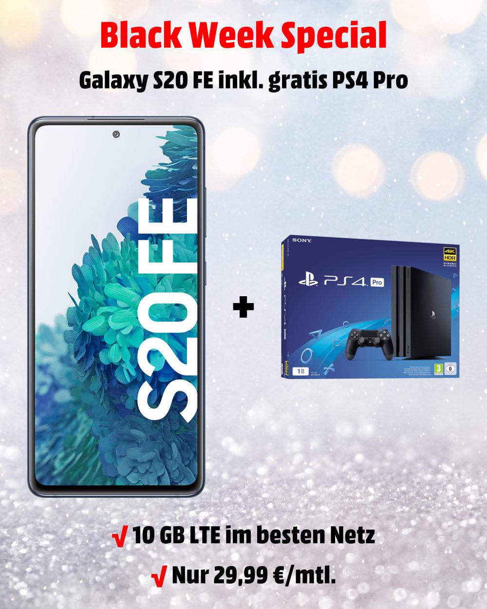Galaxy S20 FE inkl. PS4 Pro und 10 GB LTE Allnet-Flat im besten D-Netz der Telekom