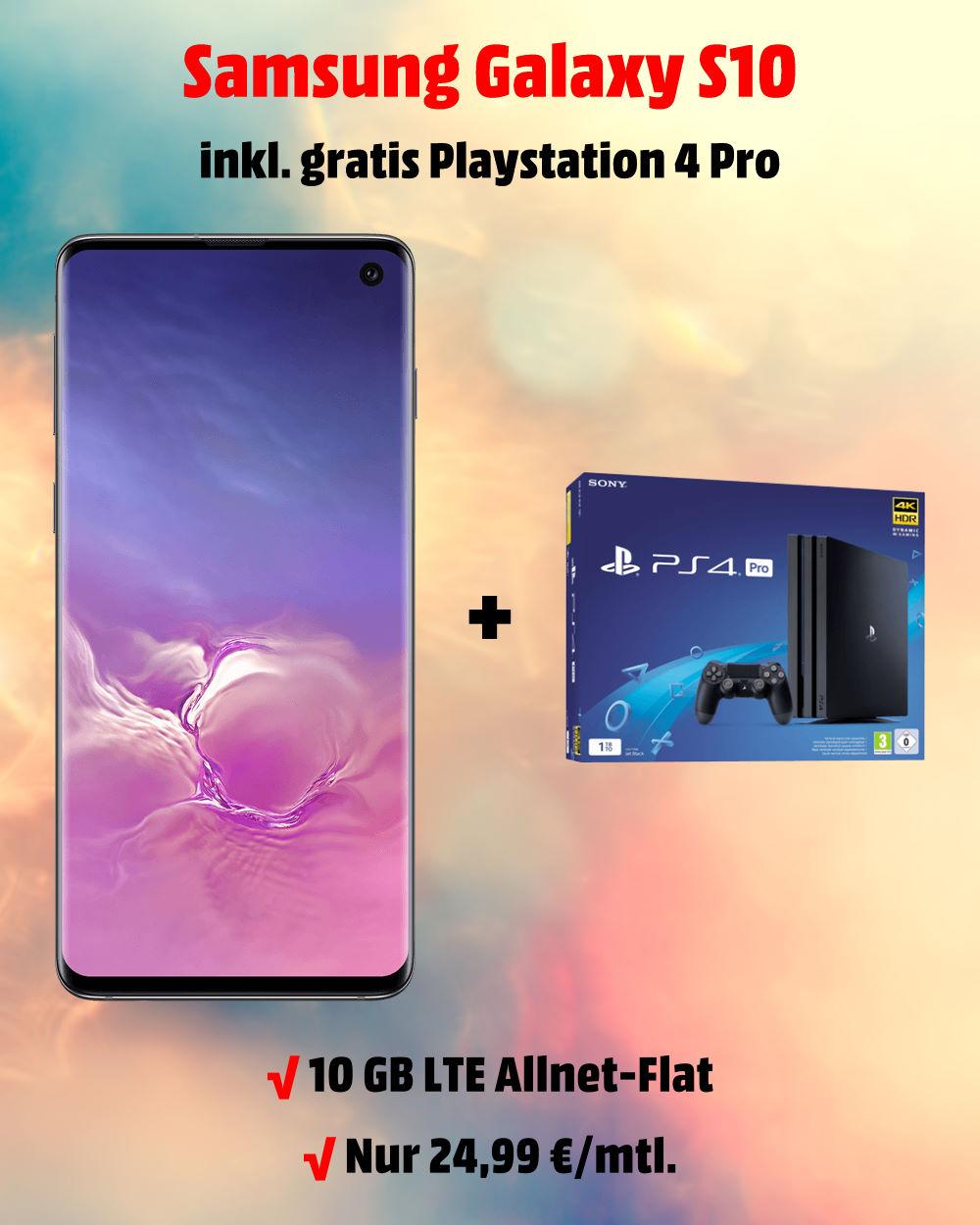 Handy-Tarifvergleich - Galaxy S10 mit Playstation 4 Pro und 10 GB LTE Allnet-Flat