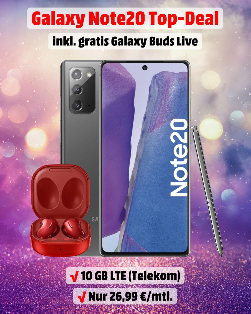 Galaxy Note20 inkl. Galaxy Buds Live und 10 GB LTE Allnet-Flat - Handy-Tarifvergleich