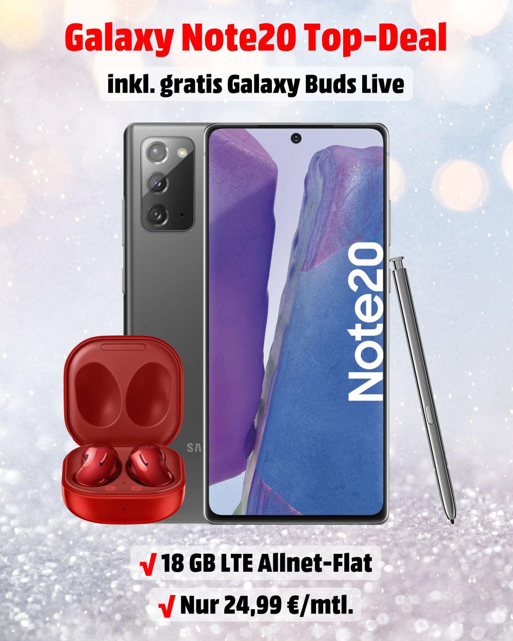 Galaxy Note20 mit Galaxy Buds Live und 18 GB LTE Allnet-Flat - Handytarifvergleich