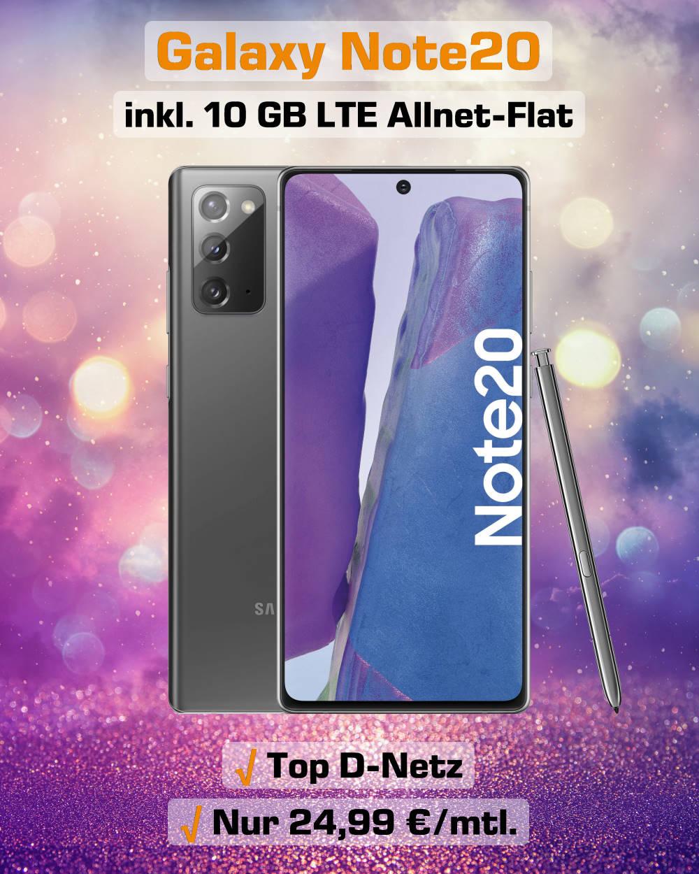 Galaxy Note20 mit10 GB LTE Allnet-Flat im Top D-Netz zum absoluten Bestpreis