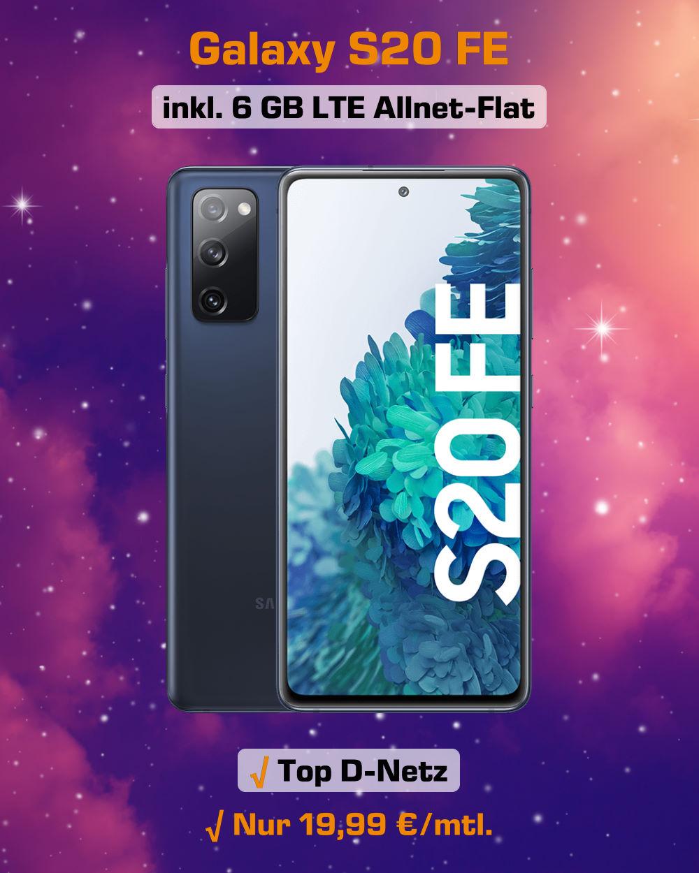 Galaxy S20 FE inkl. 6 GB LTE Allnet-Flat zum absoluten Bestpreis