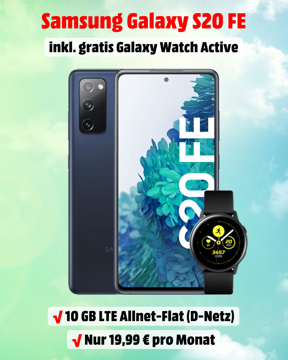 Galaxy S20 FE inkl. Galaxy Watch Active und 10 GB LTE Allnet-Flat - Handy-Tarifvergleich