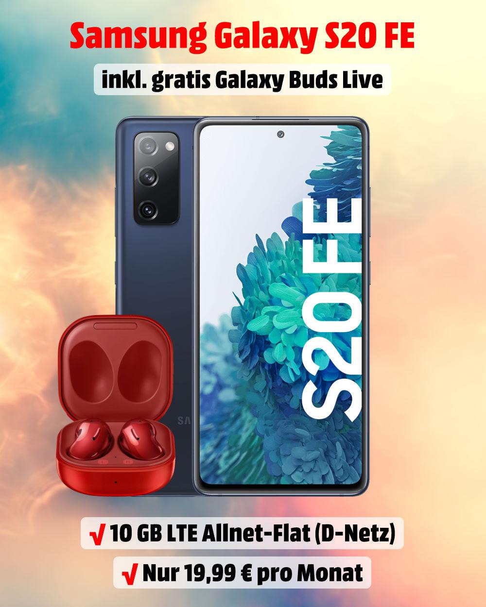 Handy-Tarifvergleich - Galaxy S20 FE inkl. Galaxy Buds Live und 10 GB LTE Allnet-Flat