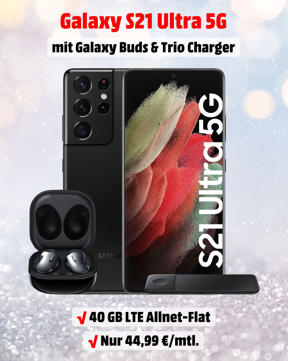 Galaxy S21 Ultra 5G Handyvertrag inkl. Galaxy Buds Live, Trio Charger und 40 GB LTE Allnet-Flat