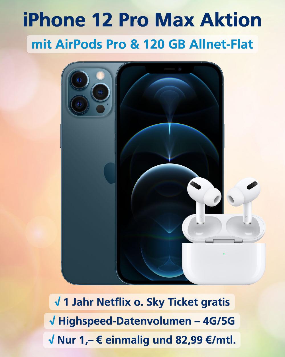 iPhone 12 Pro Max inkl. AirPods Pro und 120 GB Allnet-Flat zum Top-Preis - Handy-Tarifvergleich