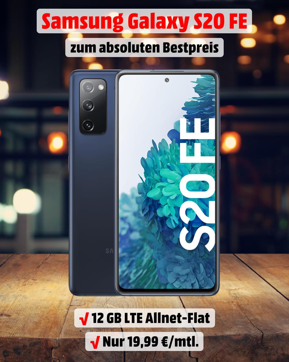 Galaxy S20 FE inkl. 12 GB LTE Allnet-Flat zum Mega-Tiefpreis