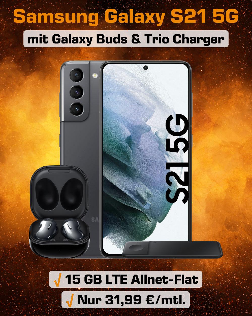 Galaxy S21 5G Angebot inkl. Galaxy Buds Live, Trio Charger und 15 GB LTE Allnet-Flat