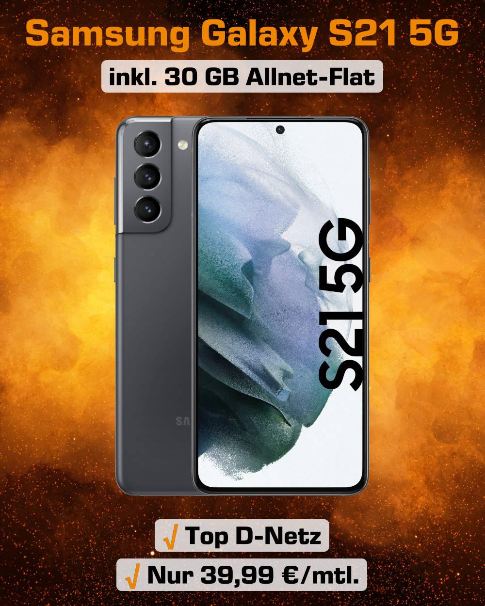 Galaxy S21 5G inkl. 30 GB LTE Allnet-Flat zum Spitzenpreis