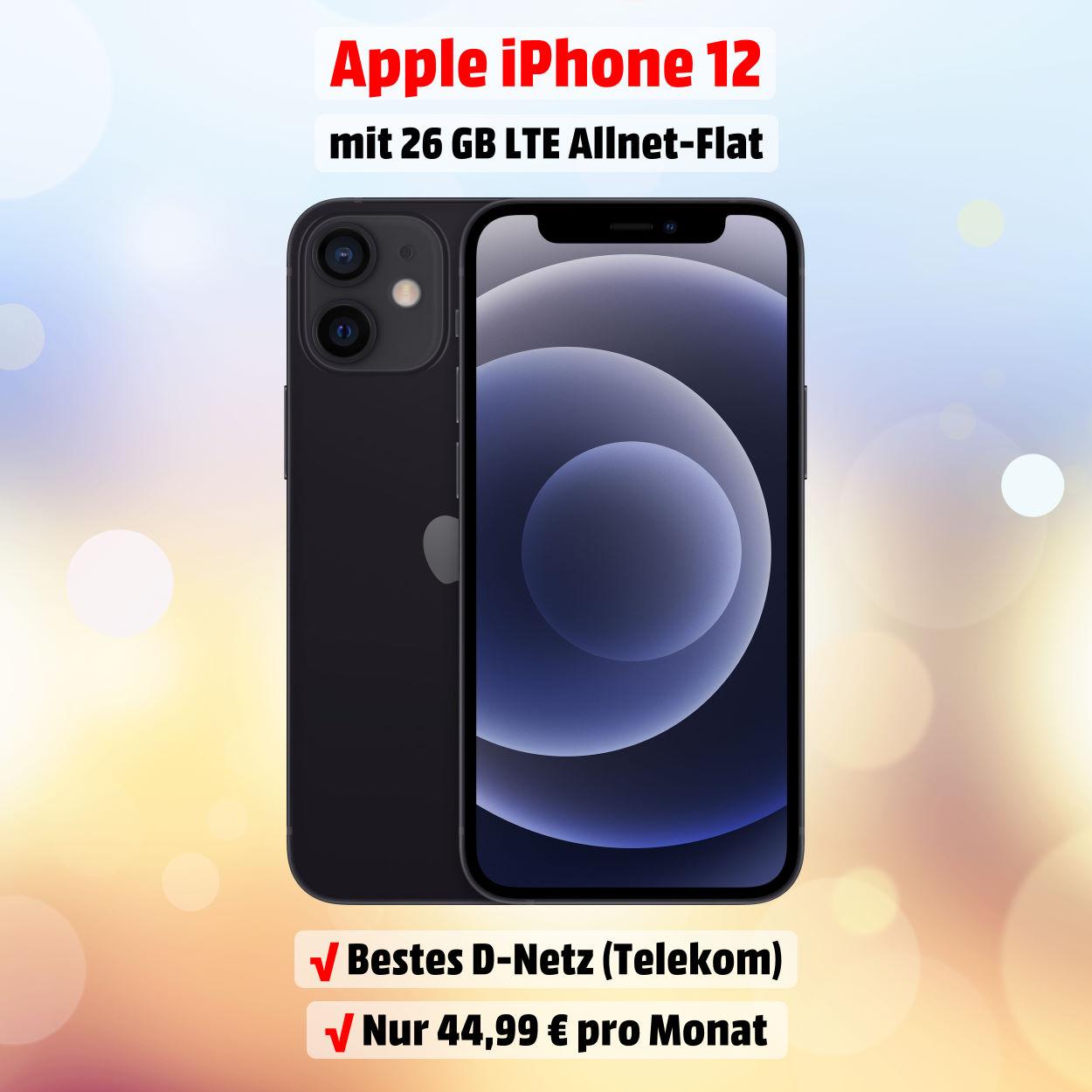 iPhone 12 inkl. 26 GB LTE Allnet-Flat im besten D-Netz der Telekom