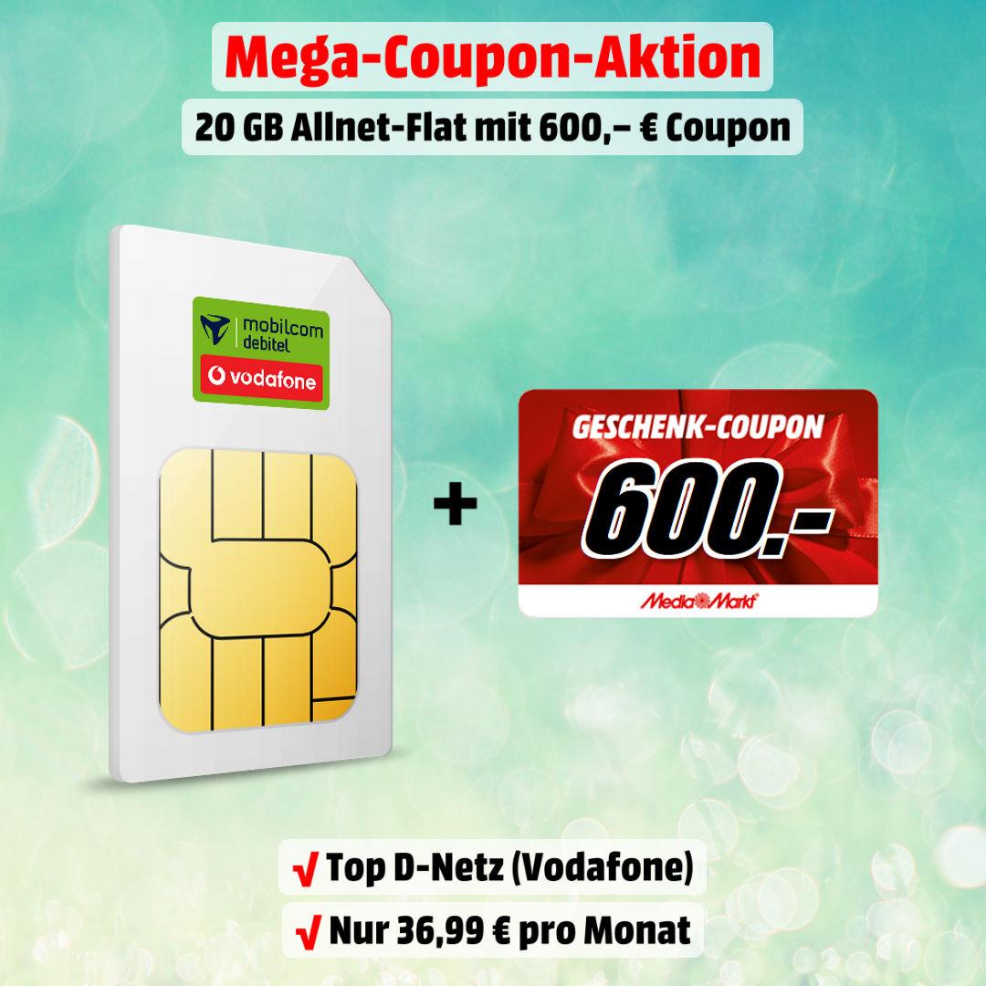 20 GB LTE Allnet-Flat inkl. 600 € MediaMarkt-Coupon zum absoluten Bestpreis