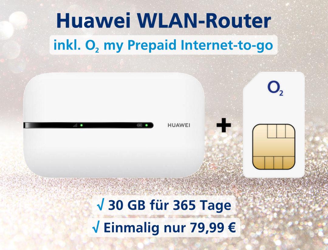 Huawei E5576 WLAN-Router inkl. o2 Prepaid Internet-to-go zum Bestpreis