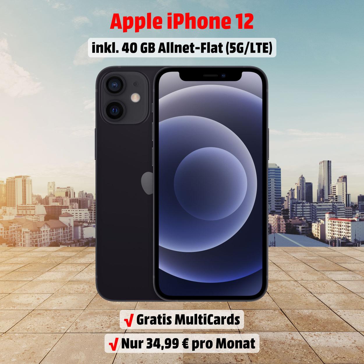 iPhone 12 inkl. 40 GB 5G-LTE Allnet-Flat zum absoluten Bestpreis