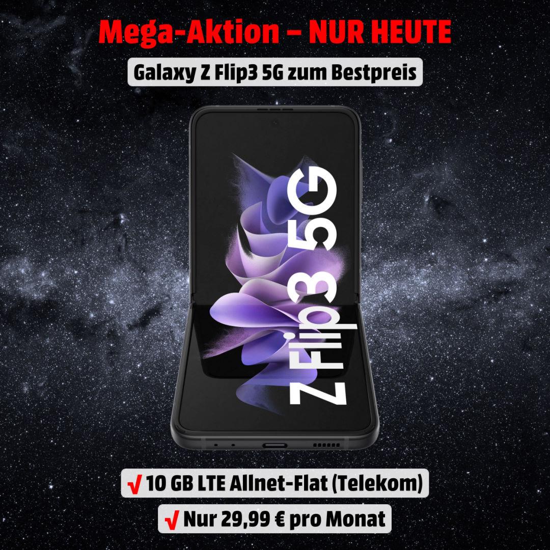 Galaxy Z Flip3 5G inkl. 10 GB LTE Allnet-Flat im besten Netz zum absoluten Bestpreis