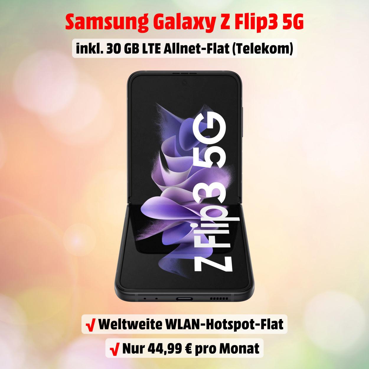 Galaxy Z Flip3 5G inkl. 30 GB LTE Allnet-Flat zu ausgezeichneten Konditionen