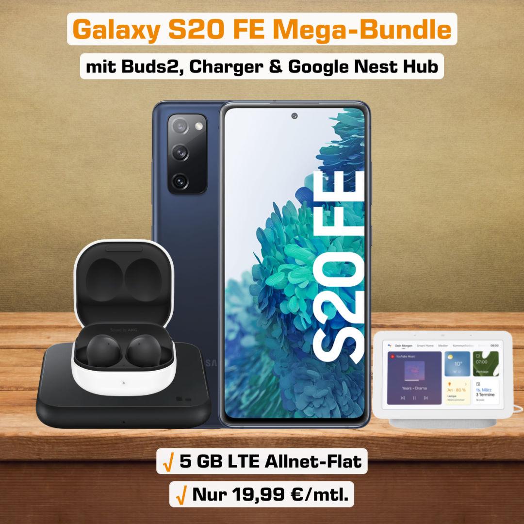 Galaxy S20 FE inkl. Buds2, Charger Pad, Nest Hub und 5 GB LTE Allnet-Flat zum absoluten Bestpreis