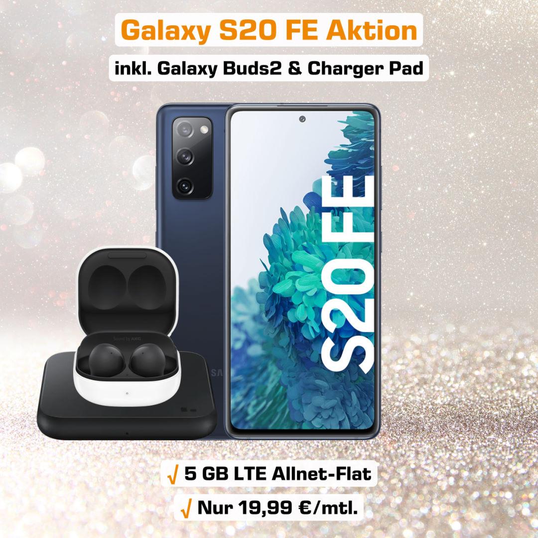 Galaxy S20 FE inkl. Galaxy Buds2, Charger Pad und 5 GB LTE Allnet-Flat zum absoluten Bestpreis