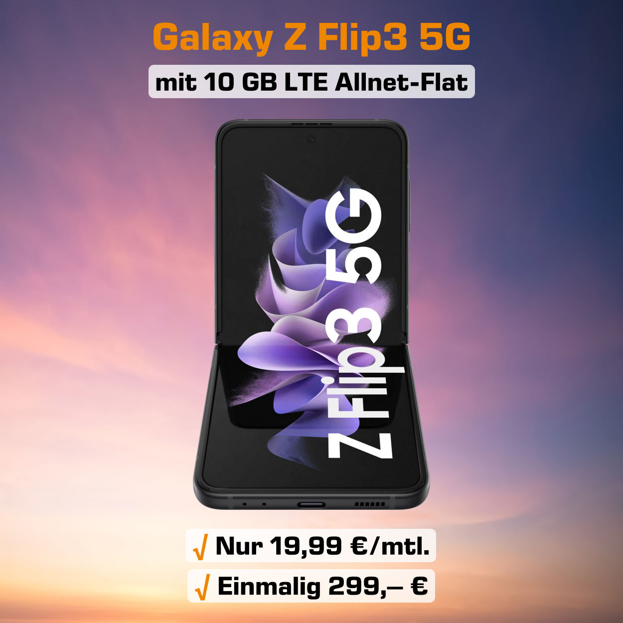 Galaxy Z Flip3 5G Handyvertrag inkl. 10 GB LTE Allnet-Flat zum absoluten Bestpreis