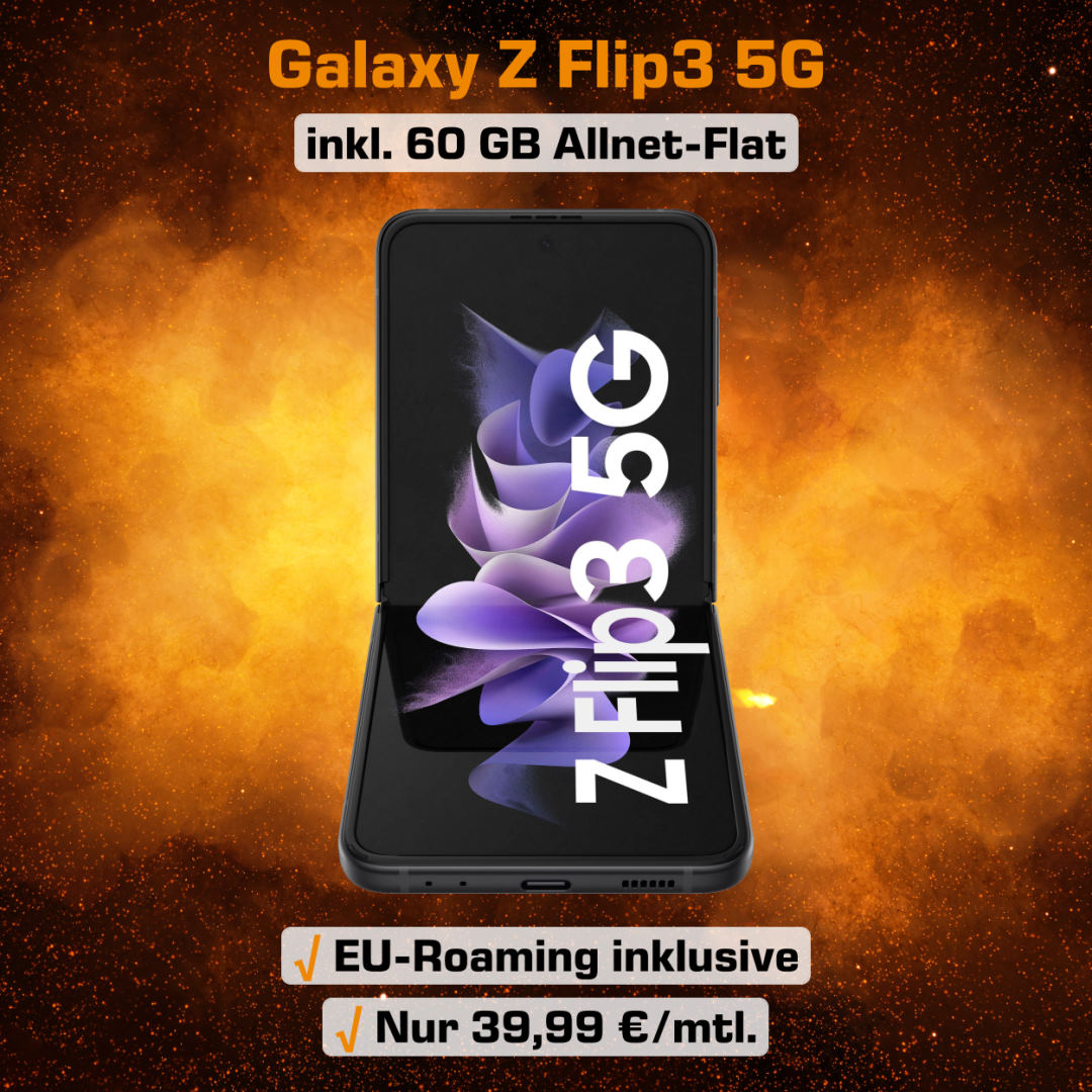 Galaxy Z Flip3 5G Handyvertrag inkl. 60 GB 5G LTE Allnet-Flat zum Bestpreis